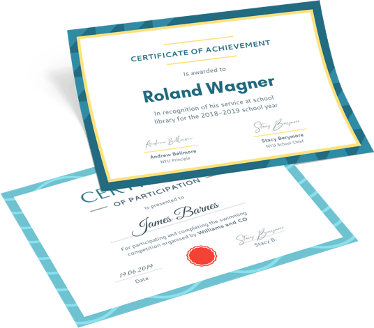 mockup of custom certificate designs