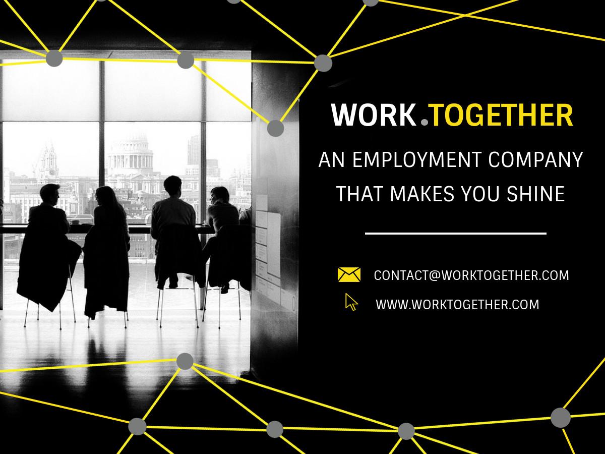 work together recruitment banner template set